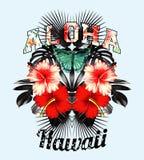 Aloha l'Hawai Illustrazione rosa dello specchio delle foglie del nero e dell'ibisco Fotografia Stock