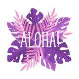 Aloha lettering. Violet and pink beautiful art Royalty Free Stock Photography