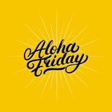 Aloha lettrage écrit par main de vendredi Photographie stock