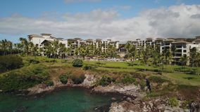 Aloha from luxurious resort on island maui montage kapalua the favourite place for recreation for hollywood stars,hawaii stock footage