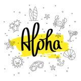 aloha Moderne Kalligraphie Auch im corel abgehobenen Betrag Stockbild