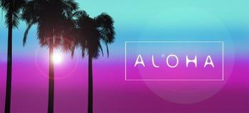 ALOHA Palms illustration stock