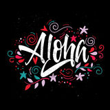 Aloha print for T-shirt. On black background Stock Photo