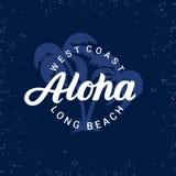 Aloha ręka pisać literowanie z palmami Obrazy Stock