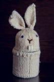 Aloha regali del coniglietto tricottati bianco per Pasqua Fotografie Stock Libere da Diritti