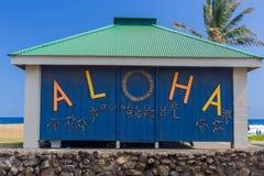 ALOHA. At the restroom at Black sand beach punalu`u Hawaii Big Island Royalty Free Stock Photo