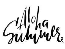 Aloha rotulação Ilustração da caligrafia do vetor Projeto da cópia do verão Imagem de Stock