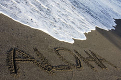 aloha sable noir Photos libres de droits