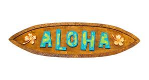 Aloha segno di legno Percorso incluso Fotografia Stock Libera da Diritti