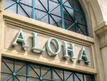 Aloha sign. Words on a building reading Aloha Royalty Free Stock Photography