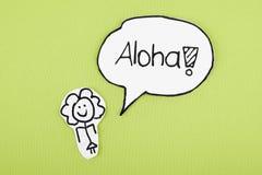 Aloha. Sketch person aloha speech bubble Royalty Free Stock Photography
