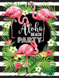 Aloha Strandfest Vector Illustration von tropischen Vögeln, Blumen, Blätter Lizenzfreies Stockfoto