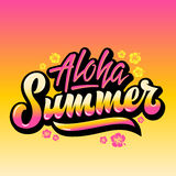 Aloha Summer Abstract Vector Hand Lettering Greeting Gard, Sign or Poster. With Hawaii Flowers and Pink Yellow Gradient. Aloha Summer Abstract Vector Hand royalty free illustration