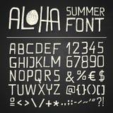 Aloha Summer Hand Drawn Font - svart tavla Royaltyfria Foton