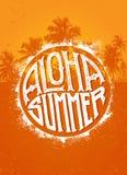 Aloha Summer Party Concepto tropical de la bandera del vector de la playa excepcional en fondo de la palmera Imagen de archivo libre de regalías
