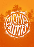 Aloha Summer Party. Outstanding Beach Tropical Vector Banner Concept On Palm Tree Background Royalty Free Stock Image