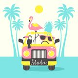 Aloha summer poster with toucan, flamingo, parrot, pineapple in the car. Can be used for poster, greeting card, bags, t-shirt. Vector Illustration stock illustration