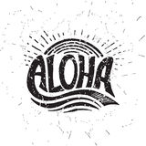 Aloha surfende Beschriftung Vektorkalligraphieillustration Lizenzfreie Stockfotos