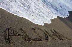 aloha svart sand Royaltyfria Foton