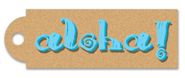 Aloha tag. Tag with turquoise aloha Royalty Free Stock Image