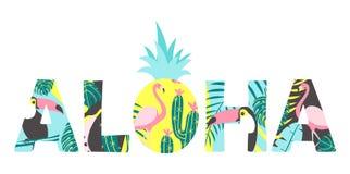Aloha text med tukan, flamingo, ananas och exotiska sidor Kan användas för affischen, hälsningkortet, påsar, t-skjorta vektor illustrationer