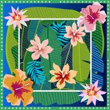 Summer tropical paradise. Squared silk scarf with banana leaves and blooming flowers on gradient background. Aloha textile collection. Green, blue, white and Royalty Free Stock Images