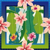 Summer tropical paradise. Squared silk scarf with banana leaves and blooming flowers on gradient background. Aloha textile collection. Green, blue, white and Royalty Free Stock Photo