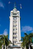 Aloha Tower. Front of Aloha Tower greeting arriving visitors to Honolulu Hawaii Stock Photography