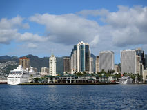 Aloha Tower, Boats, Market, harbor and Downtown Honolulu Stock Image