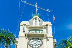 Aloha Tower. Top of Aloha Tower, a landmark built in 1926, located at Pier 9, Honolulu Harbor, Hawaii Stock Image