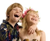 Aloha Twins!. Adorable little twins ready for the islands Royalty Free Stock Photo