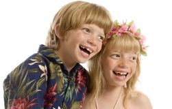 Aloha Twins!. Adorable little twins ready for the islands Royalty Free Stock Images
