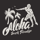 Aloha typography with surfer illustration for t-shirt print  vector illustration. Stock Photo