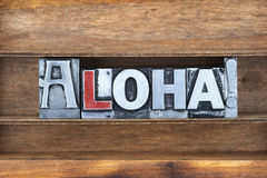 Aloha vassoio di esclamazione Fotografie Stock Libere da Diritti
