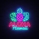 Aloha vecteur d'enseigne au néon Enseigne au néon de calibre d'Aloha Hawaii Design, bannière légère d'été, enseigne au néon, lumi Image libre de droits