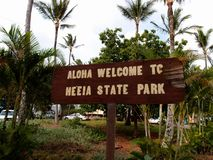 Aloha Welcome al parque de estado de He'eia - muestra Fotografía de archivo