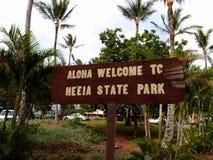 Aloha Welcome till den He'eia delstatsparken - tecken arkivbild