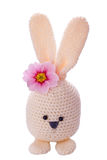 Aloha white handmade easter bunny. With flower Royalty Free Stock Photos