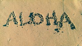 Aloha. The word Aloha written on sand in Waikiki Beach. Honolulu, Hawaii Royalty Free Stock Images