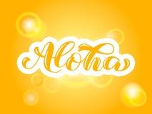 Alohaborstel het van letters voorzien De Hawaiiaanse typografie van de taalgroet Vectorillustratie voor kaart vector illustratie