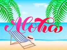 Alohaborstel het van letters voorzien De Hawaiiaanse typografie van de taalgroet Vectorillustratie voor kaart royalty-vrije illustratie
