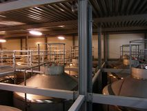 Aloholic drink tanks. Stainless steel beer production tanks Stock Photo