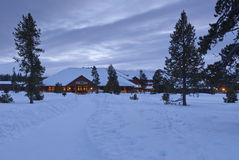 Alojamento fiel velho da neve, inverno, Yellowstone NP Imagens de Stock Royalty Free