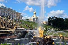 Alojamento heráldico do palácio grande em Peterhof Fotografia de Stock Royalty Free