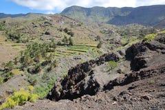 ALOJERA,戈梅拉岛,西班牙:与露台的领域和棕榈树的绿色和火山的风景在Alojera附近 图库摄影