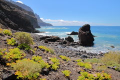 ALOJERA, LA GOMERA, SPAGNA: Il Playa del Trigo vicino a Alojera Fotografia Stock