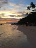 Alona Beach på skymning, Filippinerna Arkivfoton
