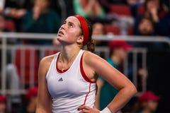 Alona Ostapenko, durante jogo redondo do grupo II do mundo o primeiro entre a equipe Letónia e a equipe Eslováquia imagens de stock royalty free