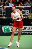 Alona Ostapenko, durante juego redondo del grupo II del mundo el primer entre el equipo Letonia y el equipo Eslovaquia imagen de archivo