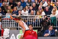 Alona Ostapenko, durante juego redondo del grupo II del mundo el primer entre el equipo Letonia y el equipo Eslovaquia fotos de archivo